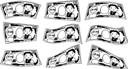 This is a rough sketch of a deformed Japanese 1000 yen bill.