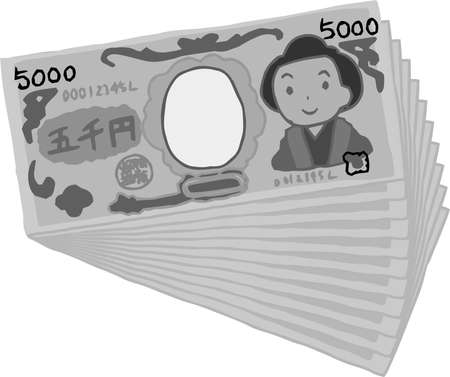 This is an illustration of a bunch of cute Japanese 5000 yen bills.