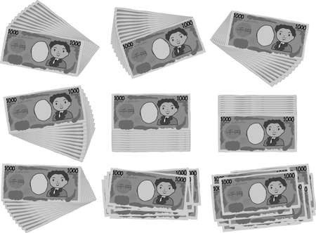 This is an illustration of a bunch of cute Japan 1000 yen bills
