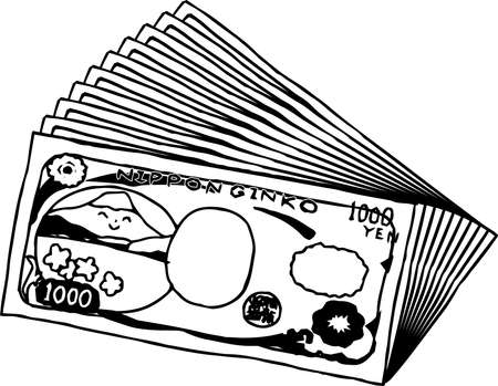 This is an illustration of a bunch of cute Japan 1000 yen bills on the back side. Illustration