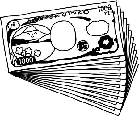 This is an illustration of a bunch of cute Japan 1000 yen bills on the back side.  イラスト・ベクター素材