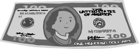 This is an illustration of a bent $ 100 US banknote.