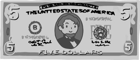 This is an illustration of a $ 5 US banknote. Illustration