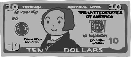 This is an illustration of a $ 10 US banknote.
