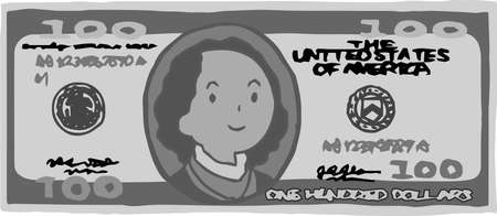 This is an illustration of a $ 100 US banknote. 일러스트