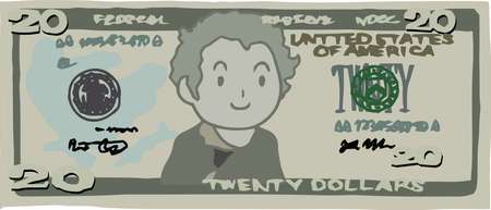 This is an illustration of a $ 20 US banknote. Illustration