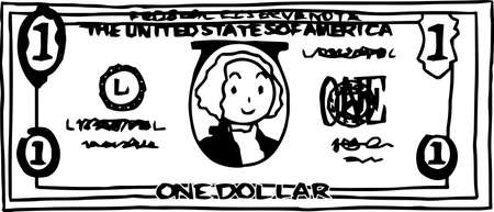 This is an illustration of a one dollar US banknote. Illustration