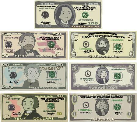 Esta es una ilustración de un billete de banco estadounidense.