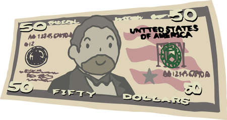 This is an illustration of a bent $ 50 US banknote.