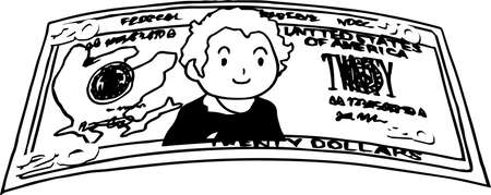 This is an illustration of a crooked twenty dollar US banknote. Illustration