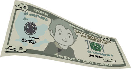 This is an illustration of a crooked twenty dollar US banknote. 일러스트