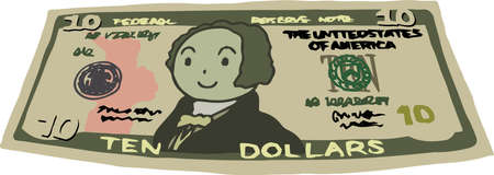 This is an illustration of a crooked ten dollar US banknote.