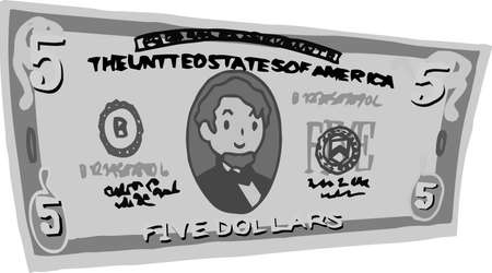 This is an illustration of a crooked five dollar US banknote. Ilustrace