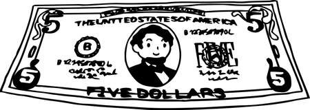 This is an illustration of a crooked five dollar US banknote. Ilustração