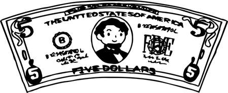 This is an illustration of a crooked five dollar US banknote. Illustration