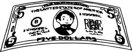 This is an illustration of a crooked five dollar US banknote. 일러스트