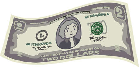 This is an illustration of a crooked two dollar US banknote. 일러스트