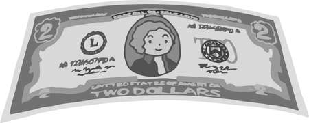 This is an illustration of a crooked two dollar US banknote. Illustration