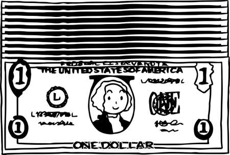 This is an illustration of a bundle of one dollar US banknotes.