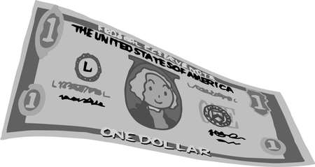 This is an illustration of a bent one dollar US banknote. Ilustração