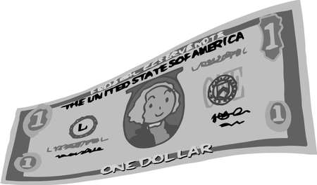 This is an illustration of a bent one dollar US banknote. Illustration