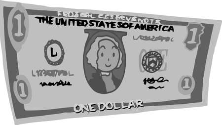 This is an illustration of a bent one dollar US banknote. 일러스트