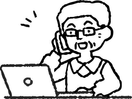 This is an analog-style illustration of an elderly man using a PC.