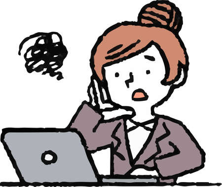 This is an Analog style illustration of working woman and laptop PC. Illustration