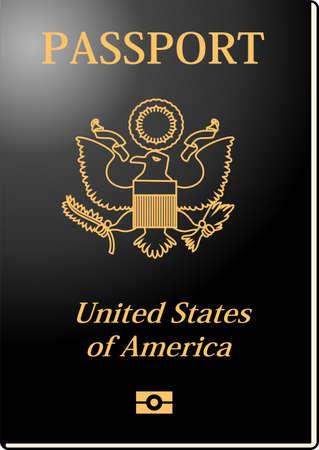 Dies ist die Illustration eines amerikanischen Passes.