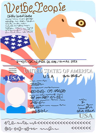 This is the Illustration of a American passport. Ilustração
