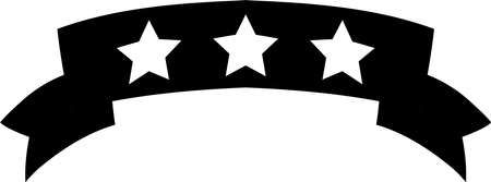 This is an illustration of a three star title ribbon. Stock Illustratie