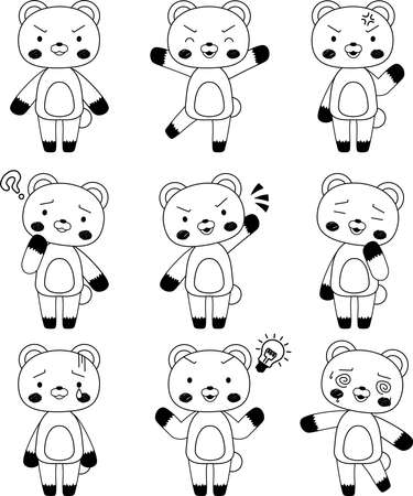 This is a full-length illustration of the cute Bear character set. Stock Vector - 125019246