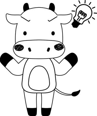 This is a full-length illustration of the cute beef cow character.