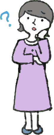 This is Illustration of a Woman wearing a purple dress face and pose set. Illustration