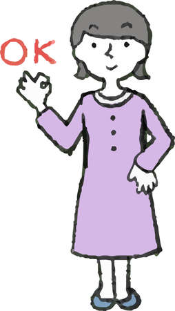 This is Illustration of a Woman wearing a purple dress face and pose set.