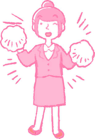This is an illustration of a job-hunting girl student face and pose. Illustration