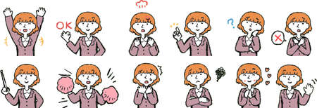 This is a illustration of a cute bob cut business woman face and pose.
