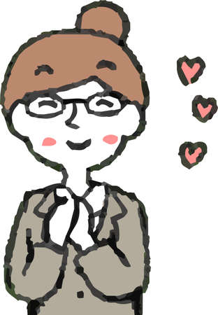 This is a illustration of a business woman wearing glasses face and pose.