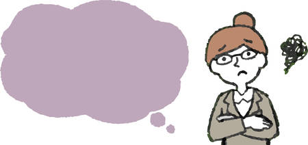 This is a illustration of Upper body of Business woman face and pose with Speech Balloon.