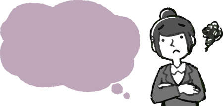 This is a Illustration of a Upper body of job-hunting girl student face and pose with Speech Balloon . Illustration