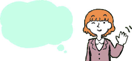This is a Illustration of a Upper body of Business woman face and pose with Speech Balloon