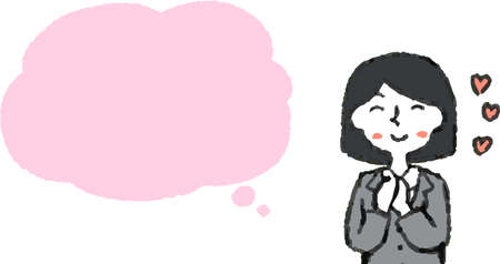 This is a illustration of Upper body of Business woman face and pose with Speech Balloon