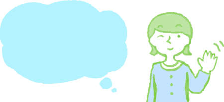 This is a illustration of Upper body of woman wearing a dress face and pose with Speech Balloon