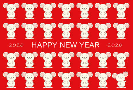This is a illustration of New Year's card with lots of cute mice in 2020
