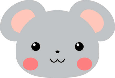 This is a illustration of Cute mouse face