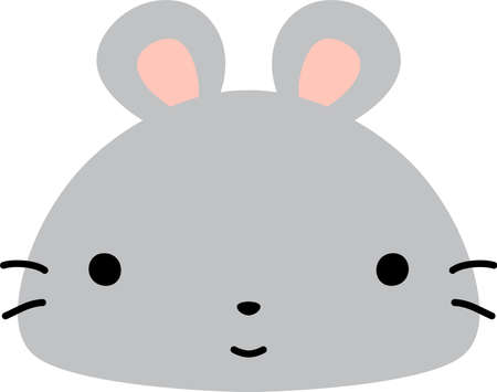 This is a illustration of Cute mouse face Illustration