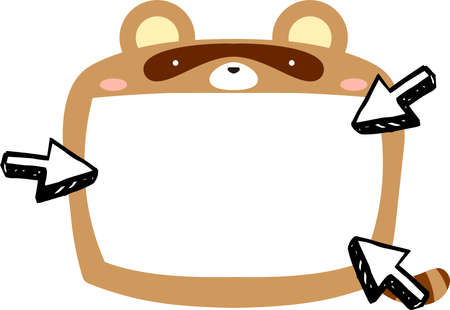This is a illustration of Cute Raccoon whiteboard