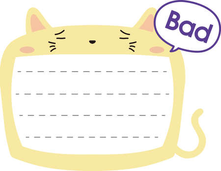 This is a illustration of Cute Cat noteboard Imagens - 131540787