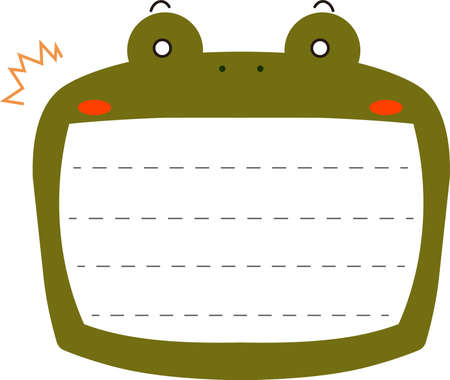 This is a illustration of Cute frog noteboard Illustration
