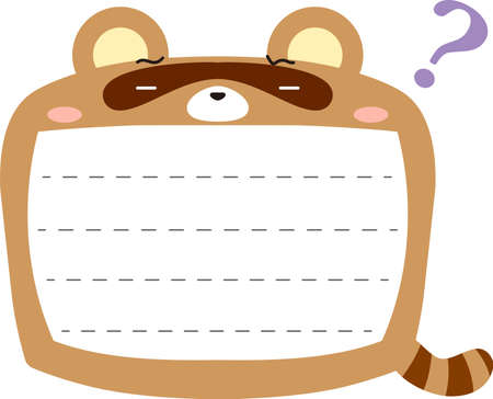 This is a illustration of Cute Raccoon noteboard
